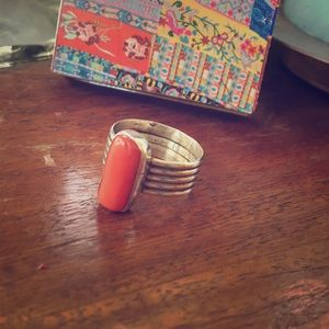 Jewelry - Sterling silver & natural coral ring, size 7 1/2
